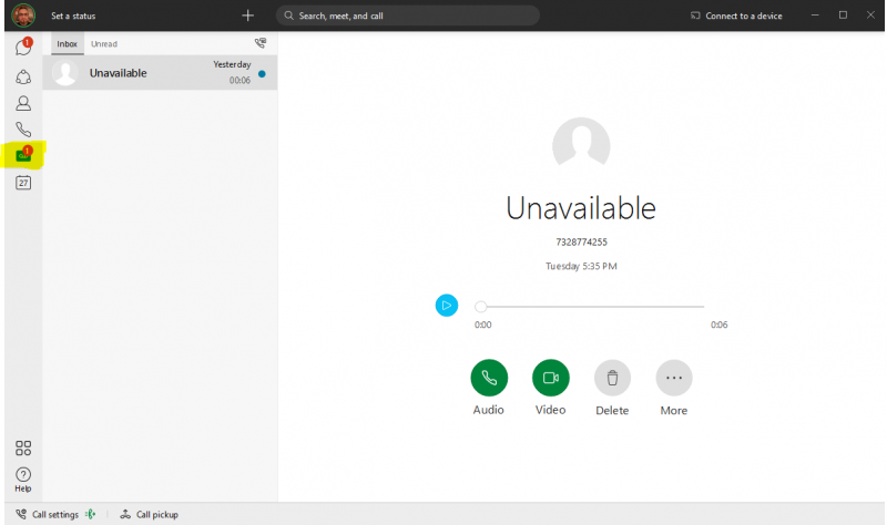 Webex App - Voicemail Tab