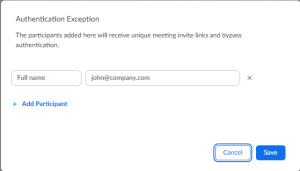 Zoom Meeting Authentication Exception