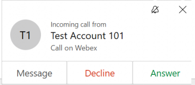 Webex App - Incoming Call