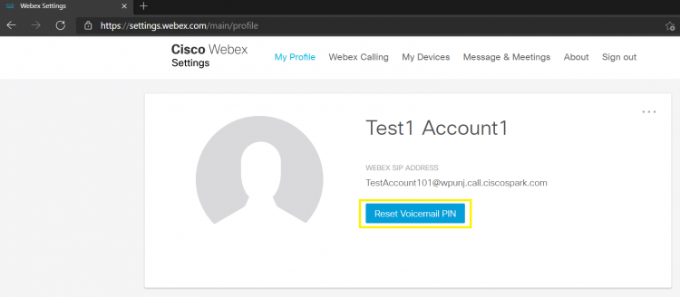 Main Page of the Webex User Portal